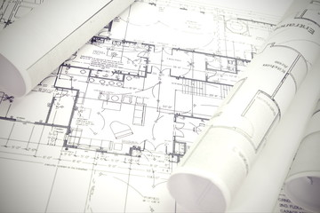 Wall Mural - Architect rolls and plans architectural plan