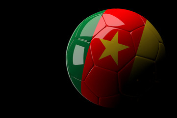Cameroon soccer ball on dark background
