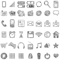 Vector Set of Sketch Mobile Icons