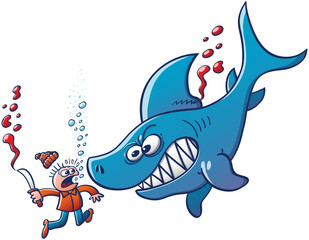Angry shark confronting a finner