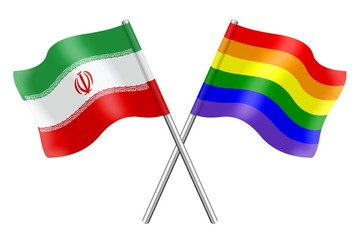 Flags : Iran and rainbow