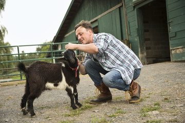 An organic farm in the Catskills. A man with a small black goat.