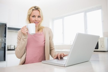 Portrait of beautiful woman with coffee cup using laptop in
