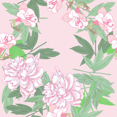 Seamless pattern  with pink peonies and flowers.
