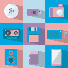 set of flat objects in sweet colors