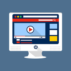 Video sharing flat illustration