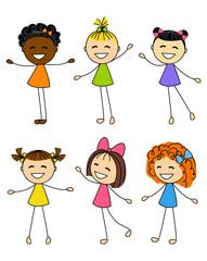 Set of cute little girls