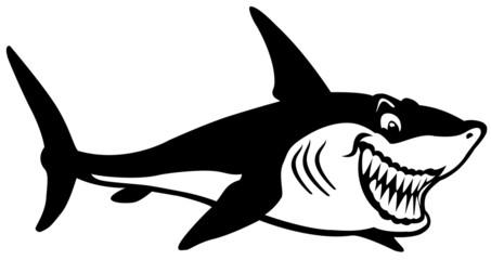 cartoon shark black white