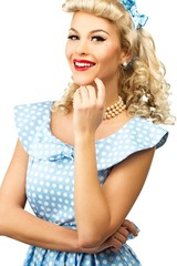 Sexy blond pin up style young woman in blue dress