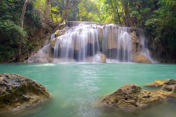 Printed roller blinds Waterfalls Waterfall in Erawan National Park with rocks