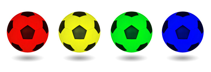 Soccer ball four color isolated.
