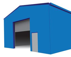 Hangar with an open gate