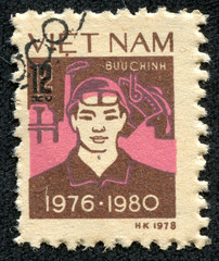stamp printed in Vietnam shows worker