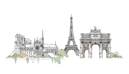 Paris, sketch collection: Notre Dame, Arch and Eiffel tower