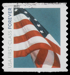 "Stamp printed in USA, Flag, ""usa first -class forever"""