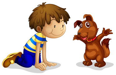 A boy and his brown pet