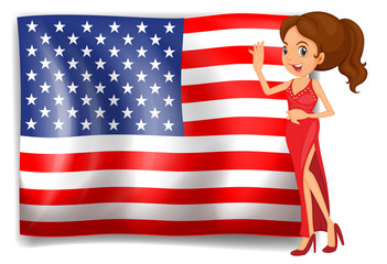 A beauty queen and the flag of the USA