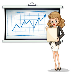 A woman holding an empty template in front of the whiteboard