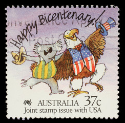 Stamp printed in Australia shows Happy Bicentenary