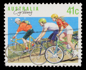 Stamp printed in AUSTRALIA shows the Cycling