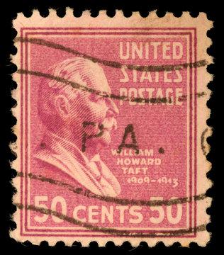 Stamp printed in US shows William Howard Taft, circa 1938