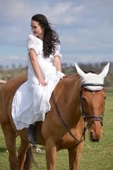 Beautiful girl on horse