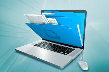 Fototapeta a laptop with folders on the screen