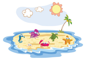 set of sea animal with beach background