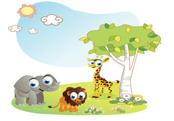 animals cartoon with garden background