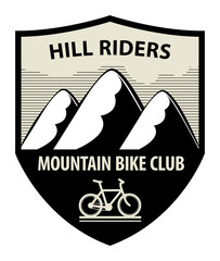 Mountain bike club icon or sign, vector