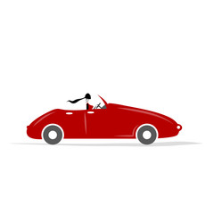 Woman driving red car for your design