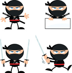 Angry Ninja Warrior Characters 1.Flat Design. Collection Set