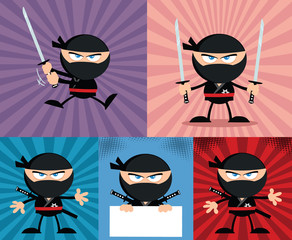Angry Ninja Warrior Characters 4.Flat Design. Collection Set