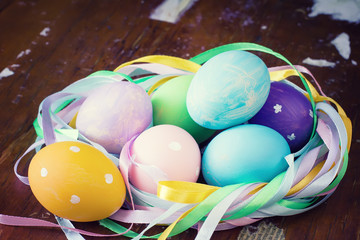 Colourful easter decorated eggs