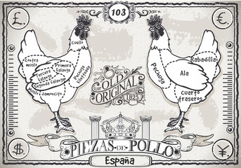 Vintage Page of Spanish Cut of Chicken