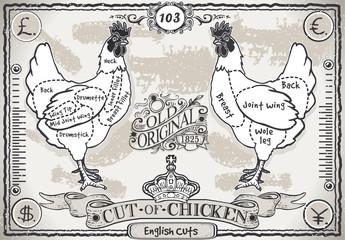 Vintage Pageof English Cut of Chicken