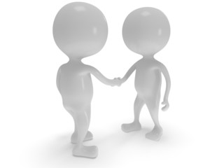 3d two white people shake hands.