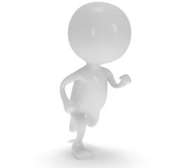 3d white running man