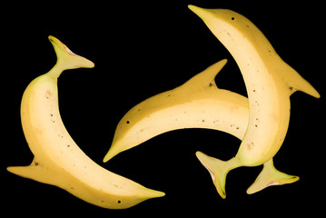 Banana dolphins created from an original picture of a banana