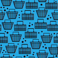 black basket of goods seamless pattern