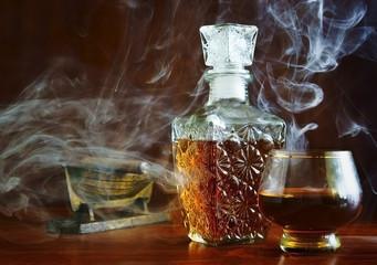 Eau-de-vie in the smoke cigars
