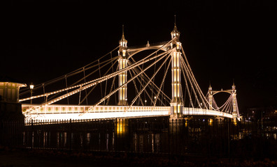 Albert's bridge at night, London