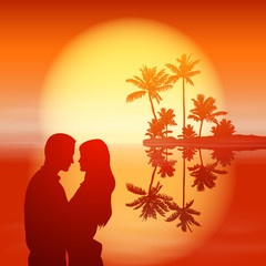 Sea sunset. Island with palm trees and silhouette couple.