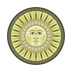Decorated medieval sun emblem