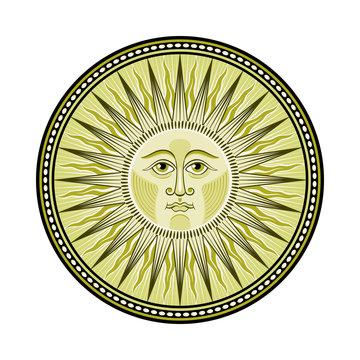 Decorated medieval sun emblem