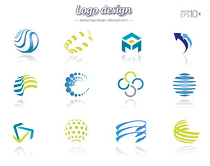 Color logo design set, isolated, vector illustration