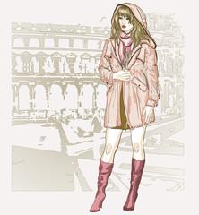 pretty fashion girl in sketch style