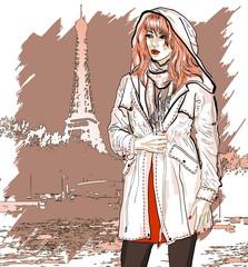 Hand drawn illustration with a fashion girl