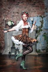Beautiful steampunk woman spinning