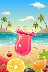 Summer poster with fresh fruit and drinks